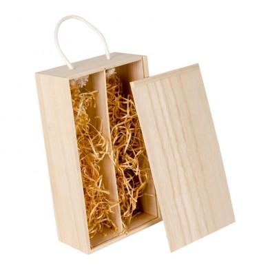 Дървена кутия за 2 бутилки