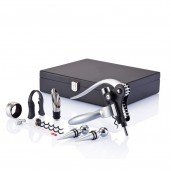 Wine set (corkscrew with blade, dispenser with cover and thermometer)
