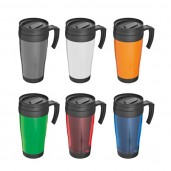 Plastic thermal travel mug