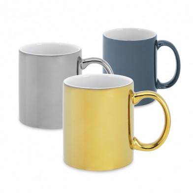 Ceramic cup with metallic coating