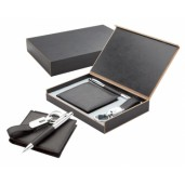 Elegant leather wallet with key ring and pen in gift box