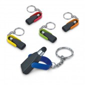 Keychain with touch and brush for screen cleaning