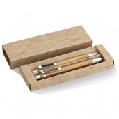 Set of pen and bamboo pencil