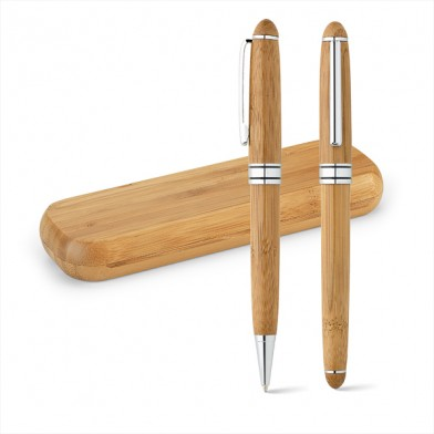 Комплект химикалка и ролер от бамбук
